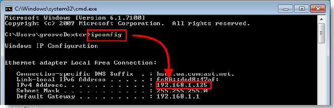IP address of the computer and router