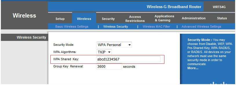 wireless network key