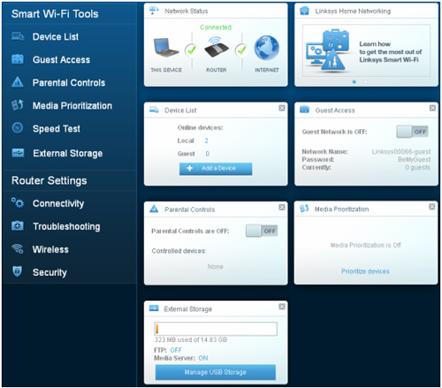 Linksys EA9300 router setup page