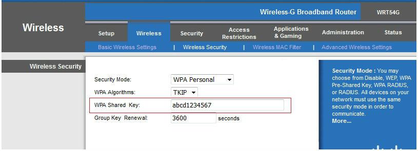 Wireless network key WEP, WPA, WPA2